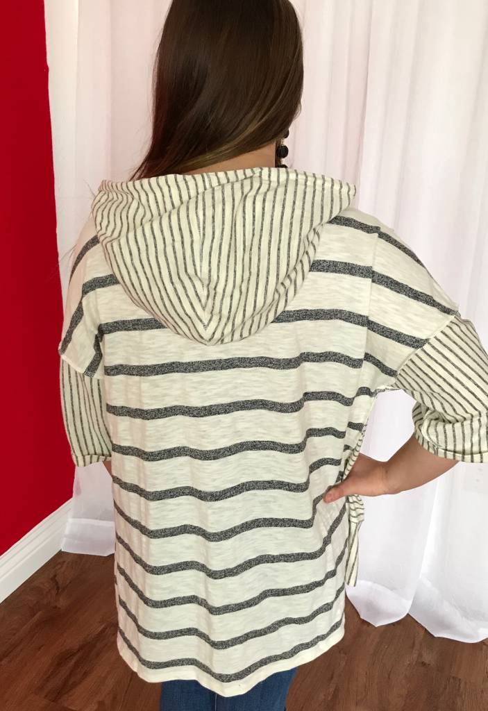 Ivory Striped Hi-Low Hoodie Top with Pouch
