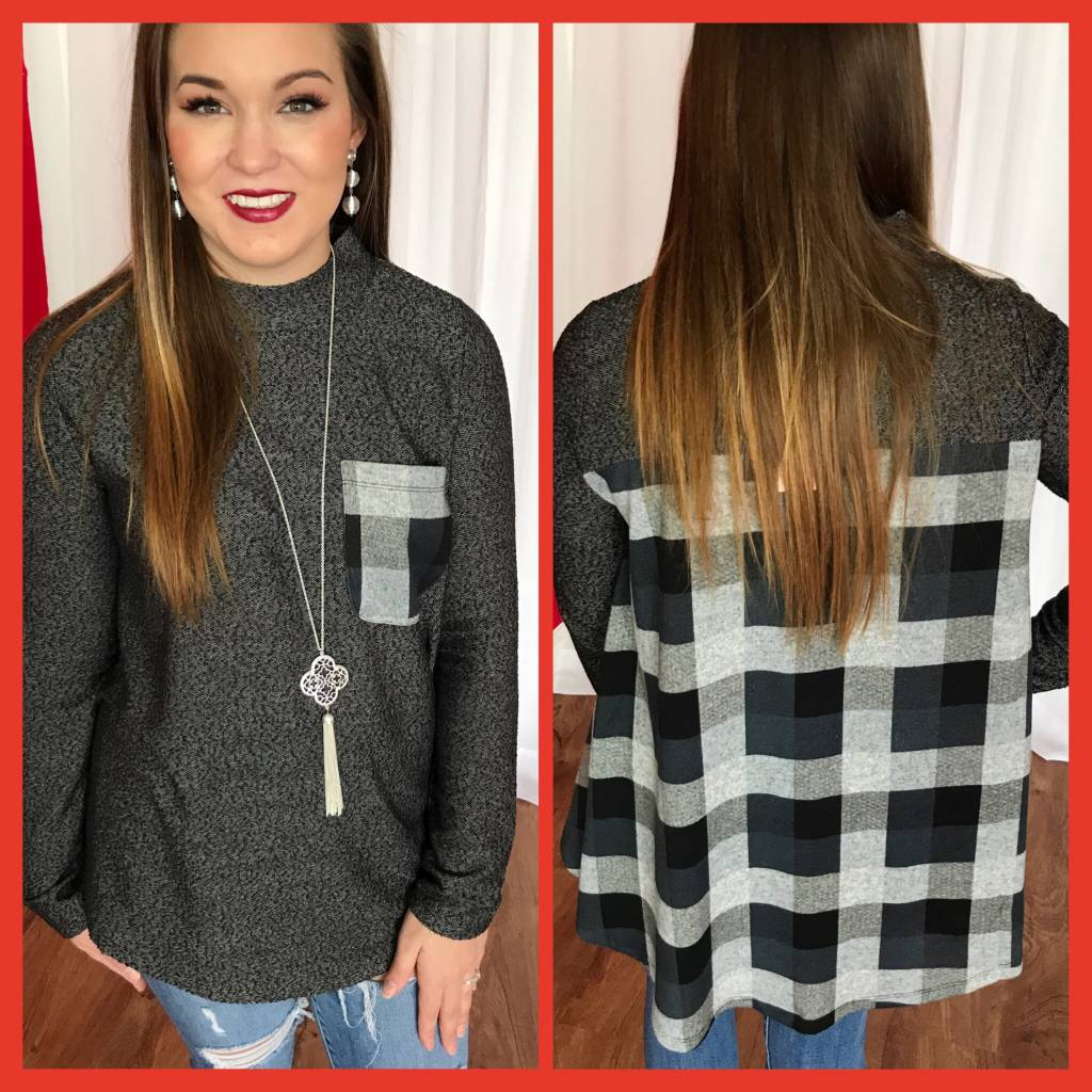 Black LS Contrast Front Pocket and Back Casual Top