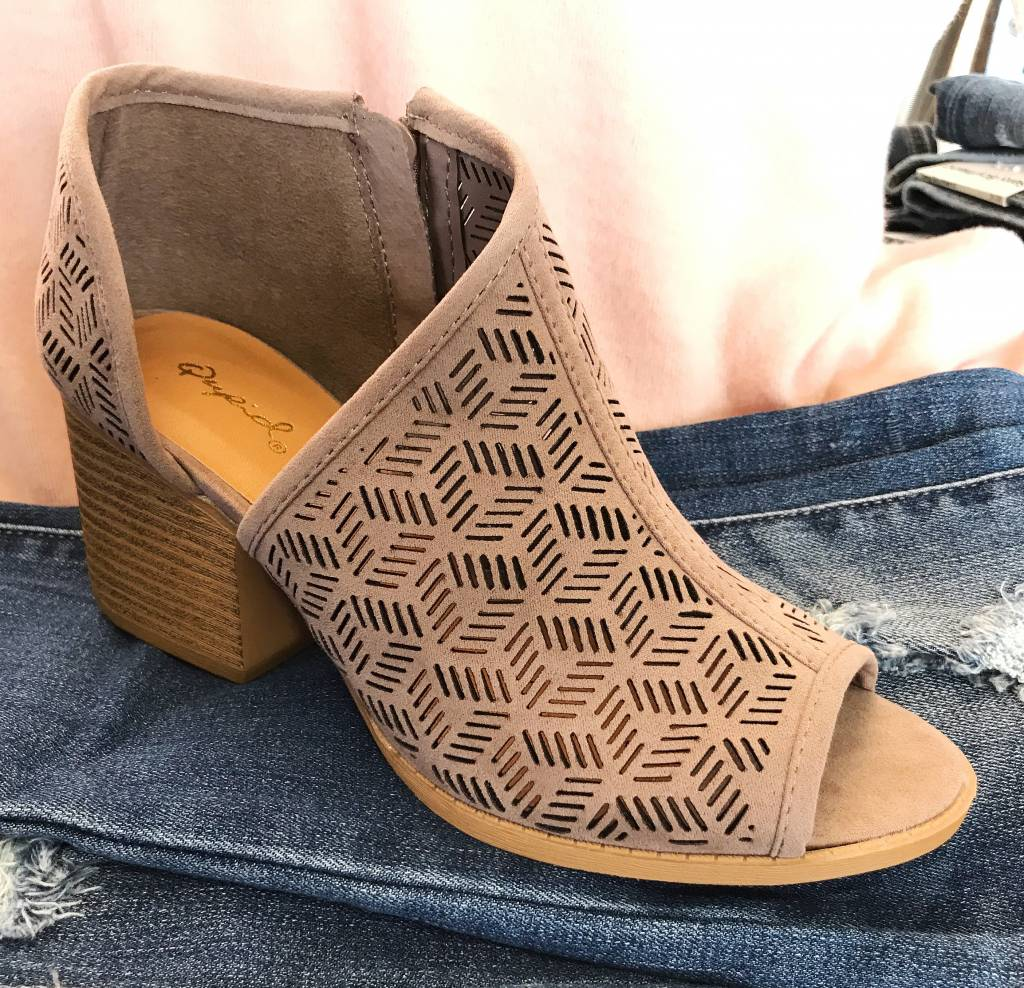 Taupe Peep Toe One Sided Cutout Bootie