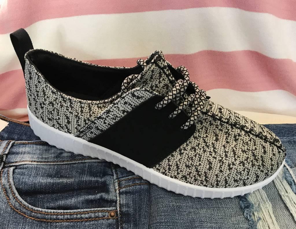 Grey/White Sneaker with Velvet Detail