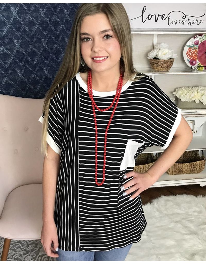 Black & White Striped Lounging Top