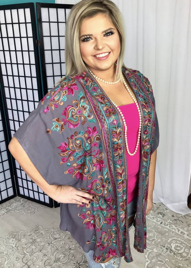 Grey Cool Mix Embroidered Cardigan