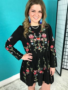 Black Long Sleeve Floral Embroidered Dress