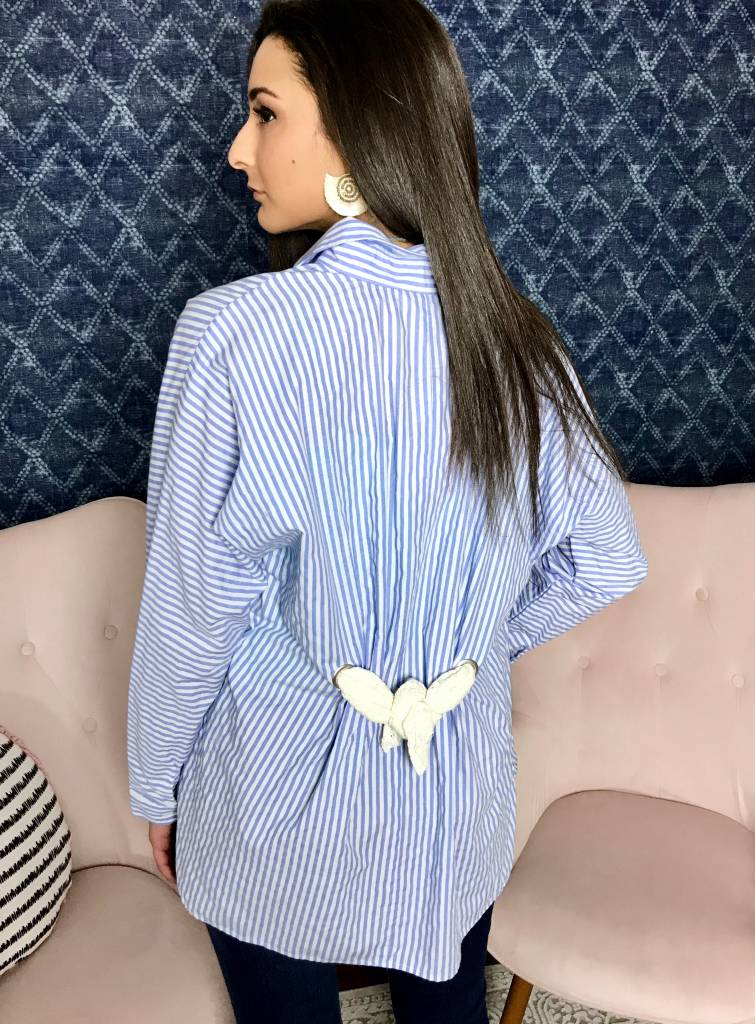 Blue Striped Button Up Collared Top- SALE ITEM