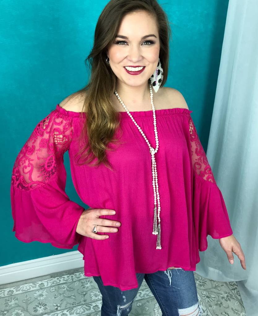 Hot Pink Off Shoulder Bell Sleeve Top with Crochet Lace Shoulders