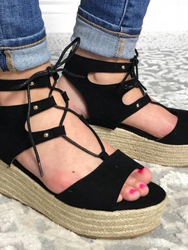 Black Cording Detail Wedge Sandal- SALE ITEM