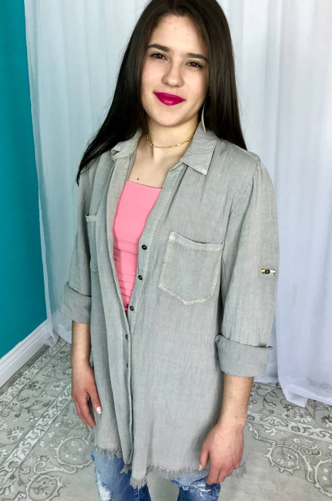 Cool Grey Washed Button Up Dress with Frayed Hem and Roll Up Sleeves