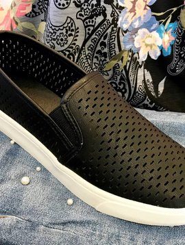 Black Slip On Sneaker with Cutout Detail