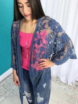 Blue Mesh Floral Cardigan