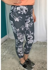 Light Grey High Waist Mixed Floral Print Capri Leggings
