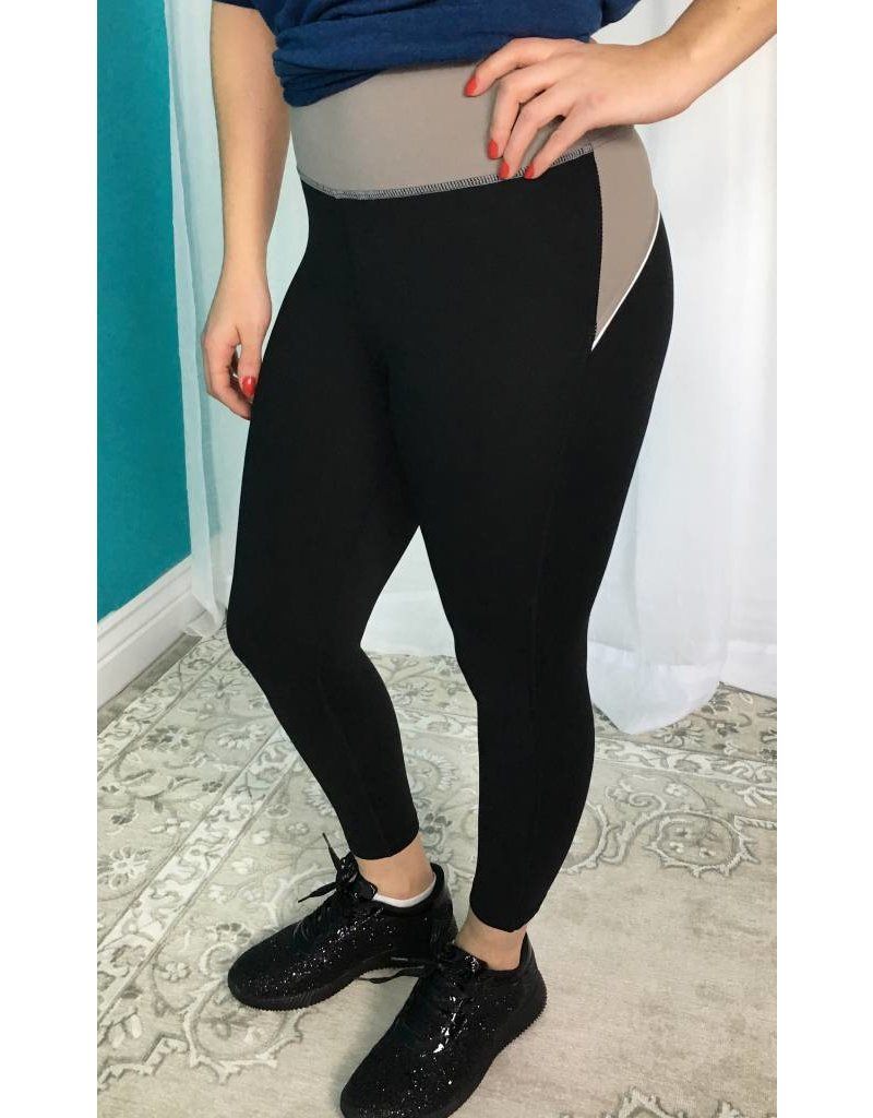 Dark Tan Color Block Waist Capri Leggings
