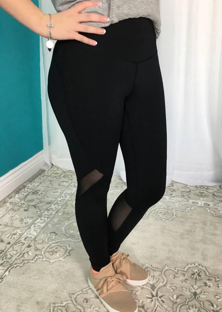 Black High Waist Slanted Mesh Full Leggings