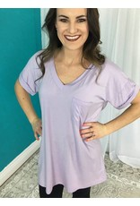 Lilac Solid Roll Up Short Sleeve V-Neck Top