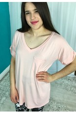 Light Pink Simple V-Neck Top with Pocket