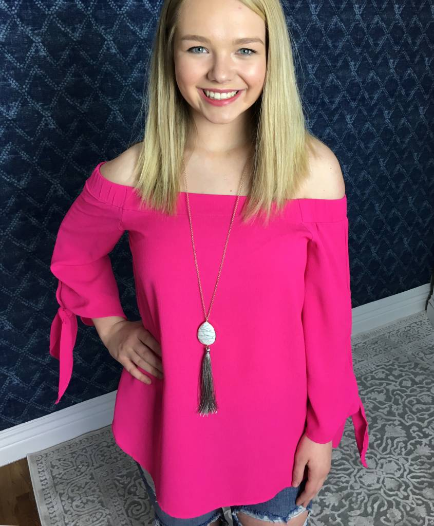 Lillie's Hot Pink Off Shoulder Textured Top Knot Sleeves