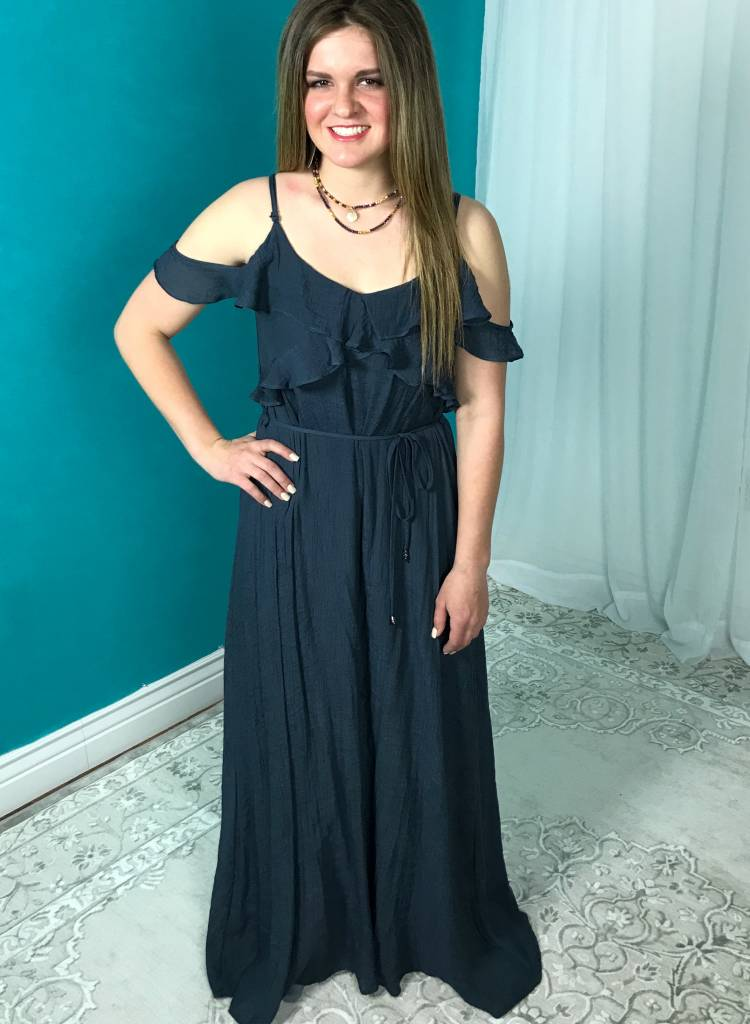 Navy Maxi Dress with Ruffle Cold Shoulder and Waist Belt