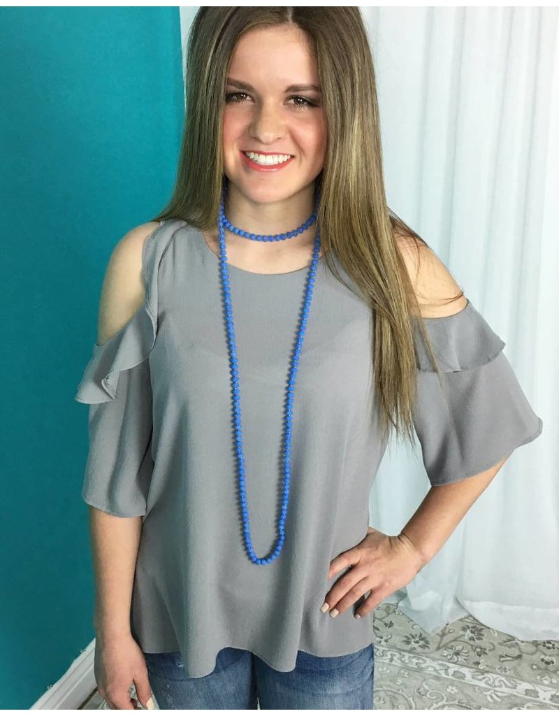 Cool Grey Cold Shoulder Ruffle Top