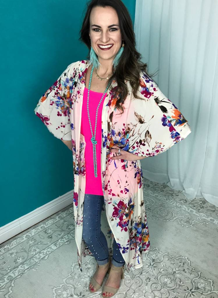 Lillie's Cream Floral Mix Long Open Front Kimono