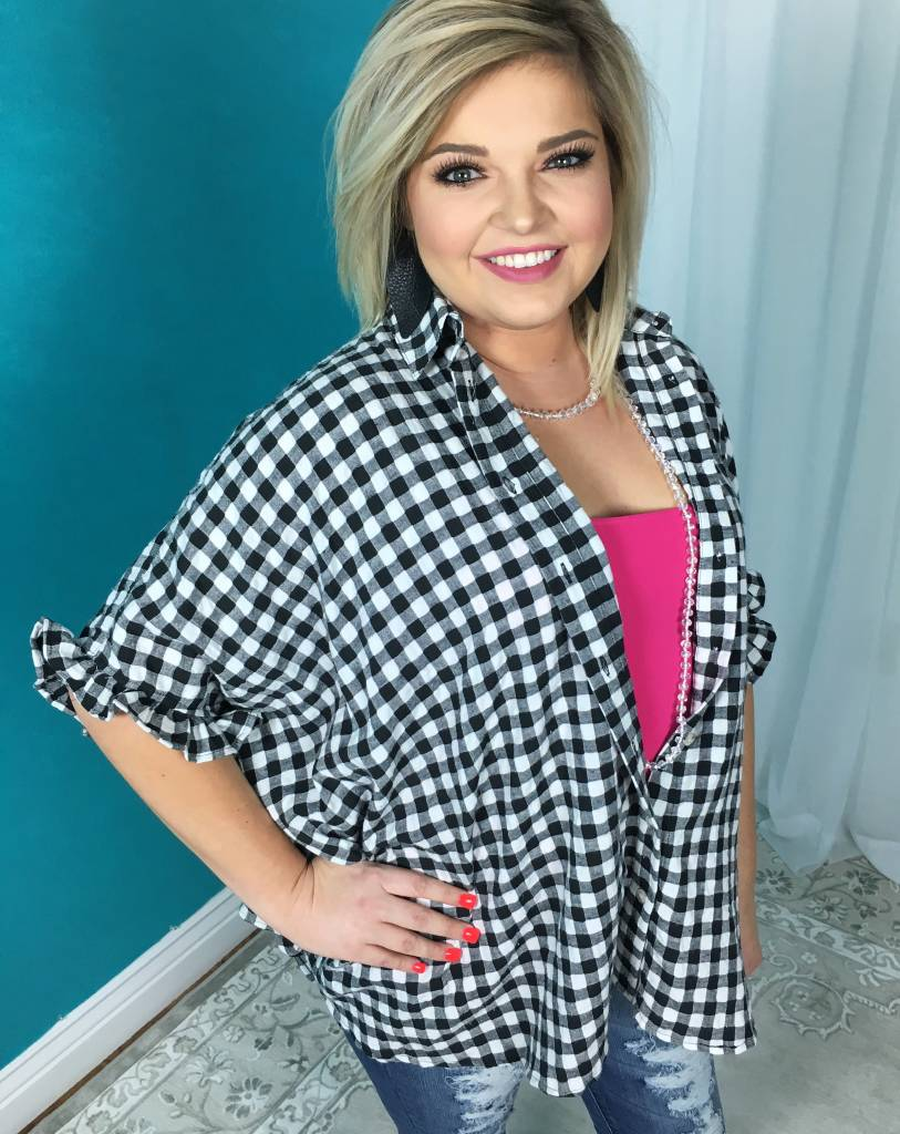 Lillie's Black / White Plaid Button Up Collar Lounge Top