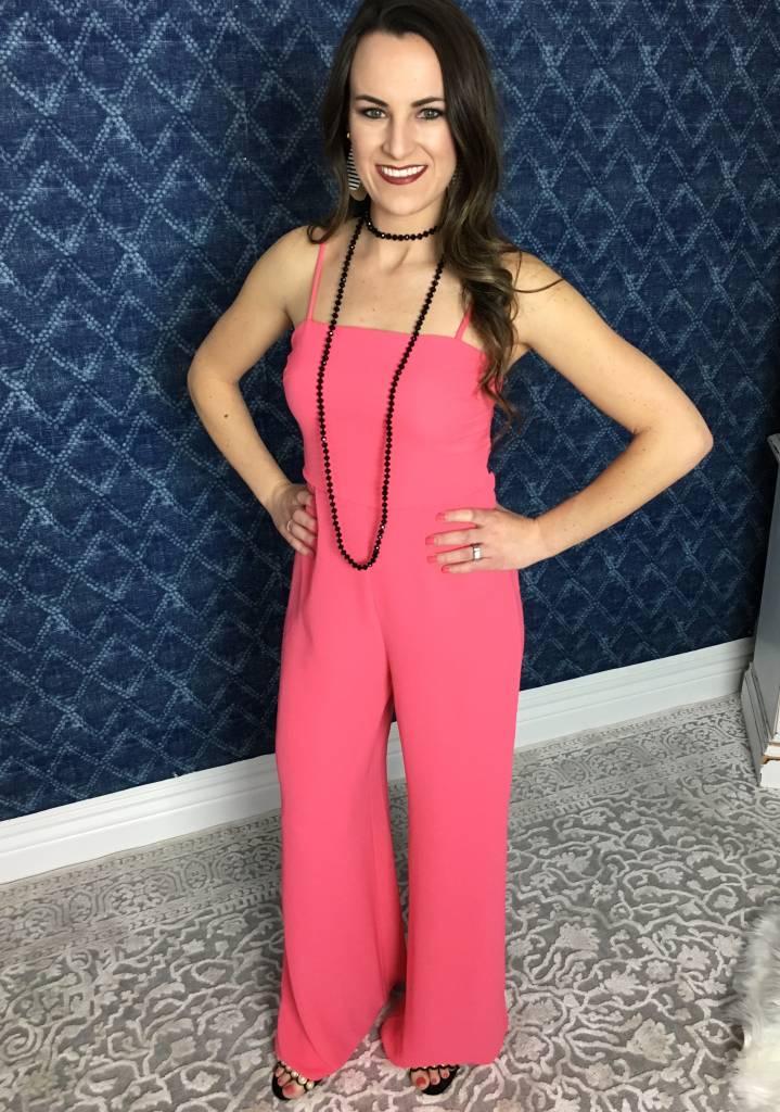 Hot Pink Spaghetti Strap Back Cutout Semi -Sheer Jumpsuit