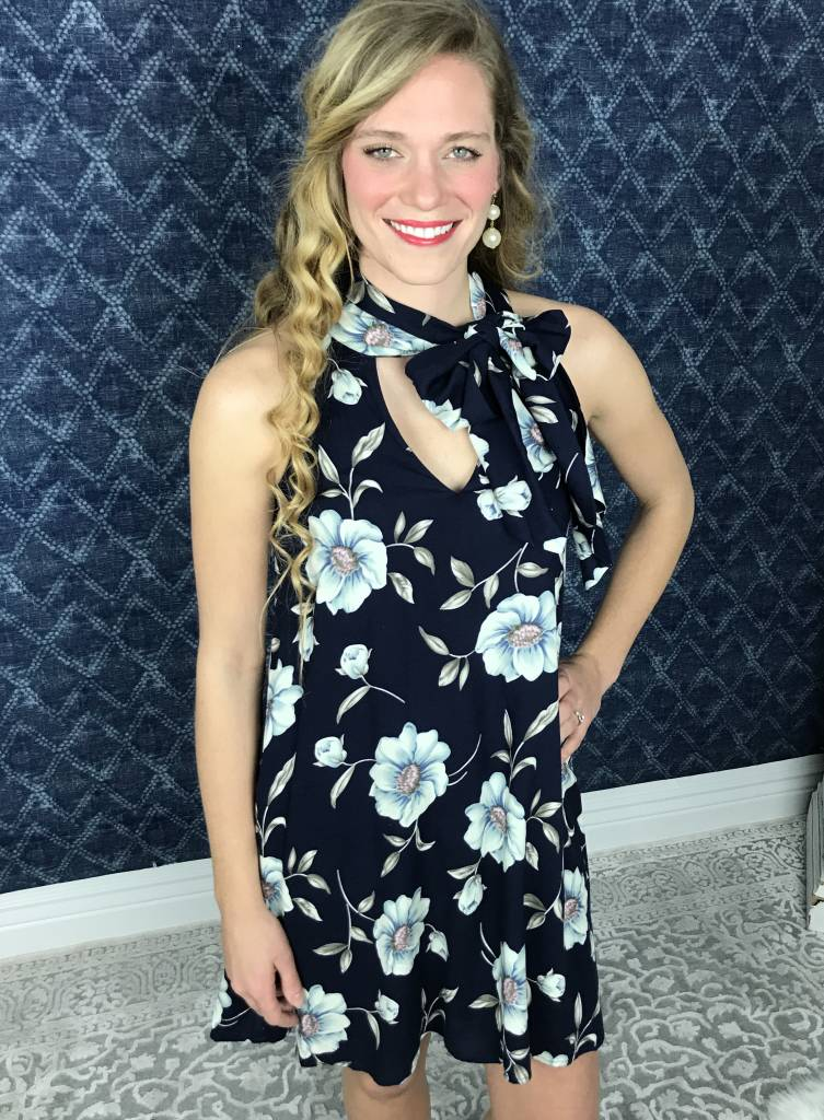 Navy Floral Dress with Self Tying Neck Scarf