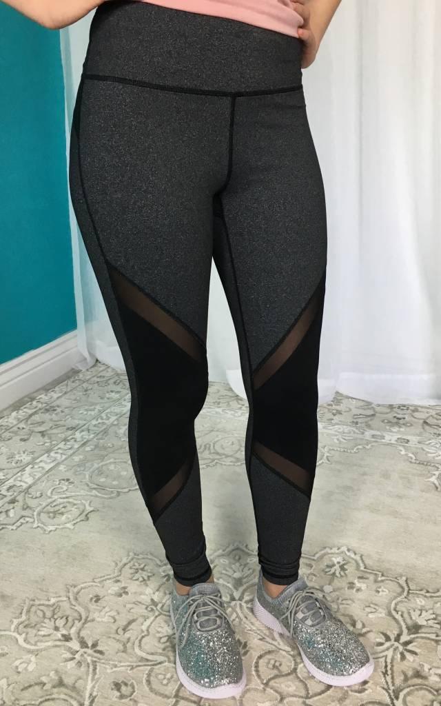 Grey High Waist Slanted Color Block Mesh Leggings