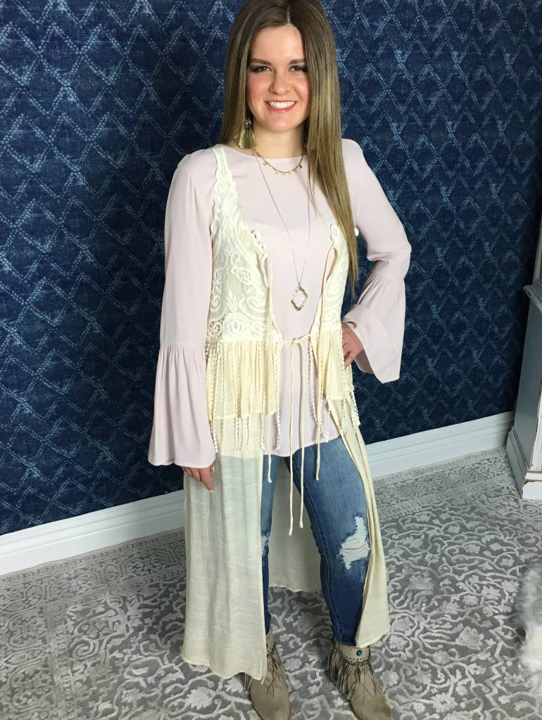 Cream Sleeveless Duster with Lace Detail