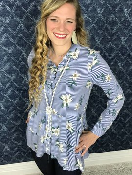 Lillie's Blue Striped Cute Floral Ruffle Button Up Top- SALE ITEM
