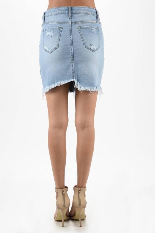 Kan Can Light Wash Frayed Denim Skirt