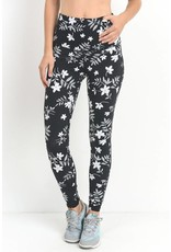 Black Monochrome Silhouette Floral Blossom Print High Waist Full Leggings- SALE ITEM