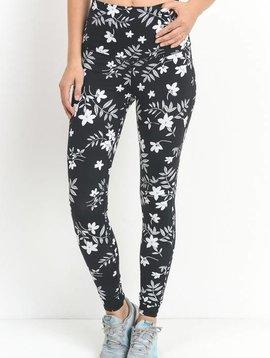 Black Monochrome Silhouette Floral Blossom Print High Waist Full Leggings