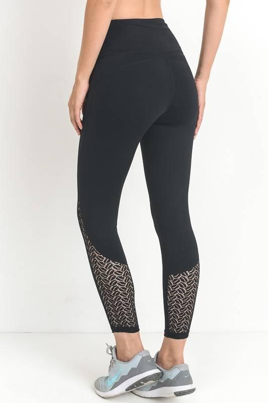 Black High Waist Lace Detail Full Leggings