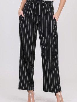Lillie's Black / White Striped Tie Pants