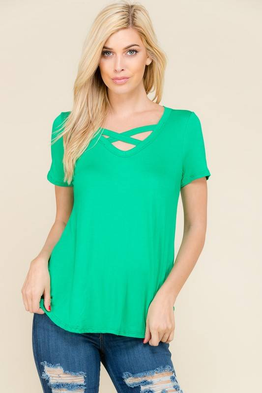 Lillie's Green V-Neck Criss Cross Top- SALE ITEM