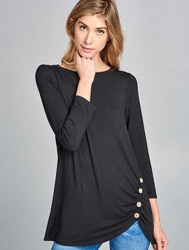 Lillie's Black 3/4 Sleeve Top With Button Hip Detail