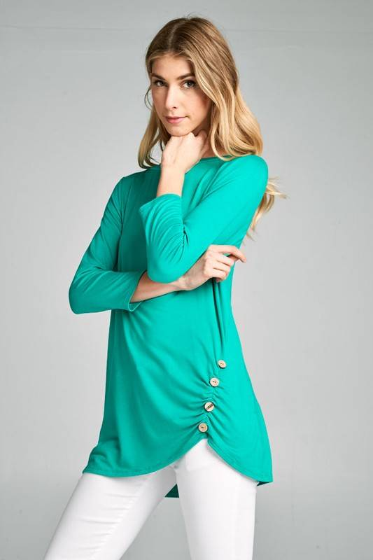 Lillie's Jade 3/4 Sleeve Top With Button Hip Detail