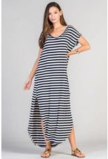 Lillie's Navy / Grey Striped V-Neck Dress