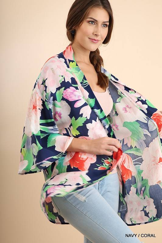 Lillie's Navy Green Mix Floral Sheer Open Front Kimono