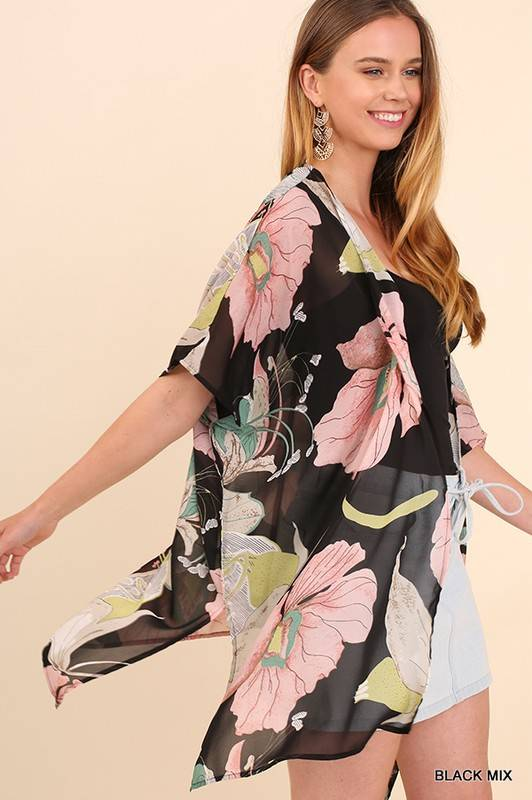 Lillie's Black Green Mix Floral Sheer Open Front Kimono