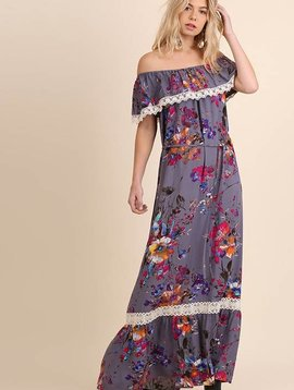 Lillie's Grey / Pink Mix Floral Off Shoulder Maxi Dress
