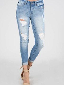 Kan Can Light Slight Distressed Skinny Jean