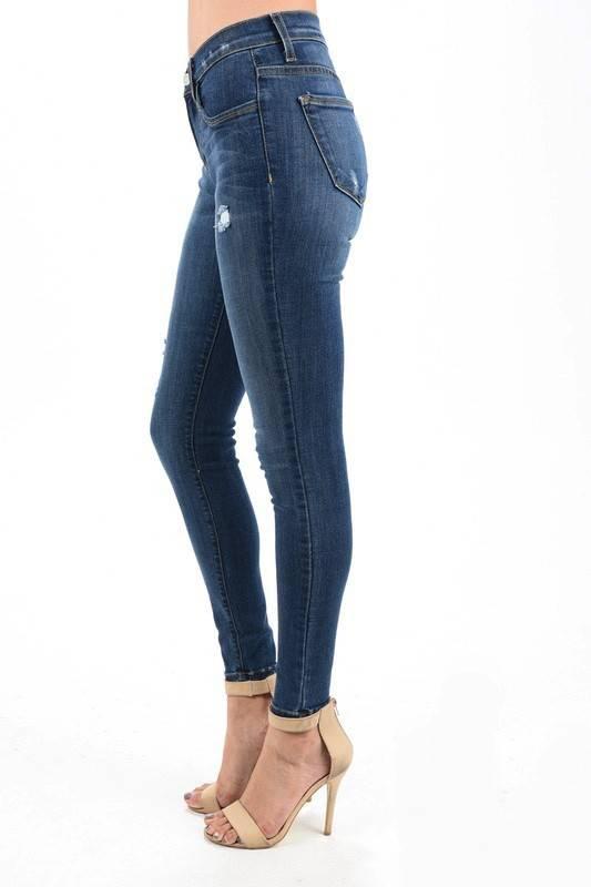Judy Blue Medium Dark Gentle Distressed Skinny Jean