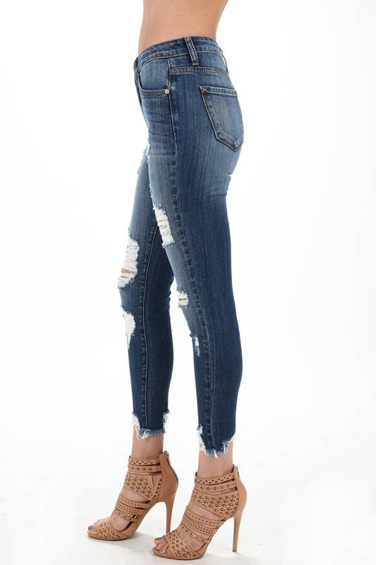 Kan Can Medium Dark Mild Distressed Skinny Jean