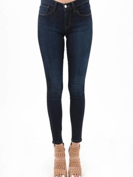 Dark Blue Handsand Mid-Rise Skinny Jeans