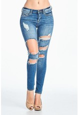 Medium Dark Square Cutout Distressed Jean