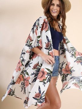 Lillie's Off-White Floral Mix Open Front Kimono with Side Slit