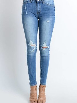 Kan Can Light Wash Distressed Skinny Jean
