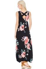 Black Hi Low Floral Maxi Dress with Cross Back Detail
