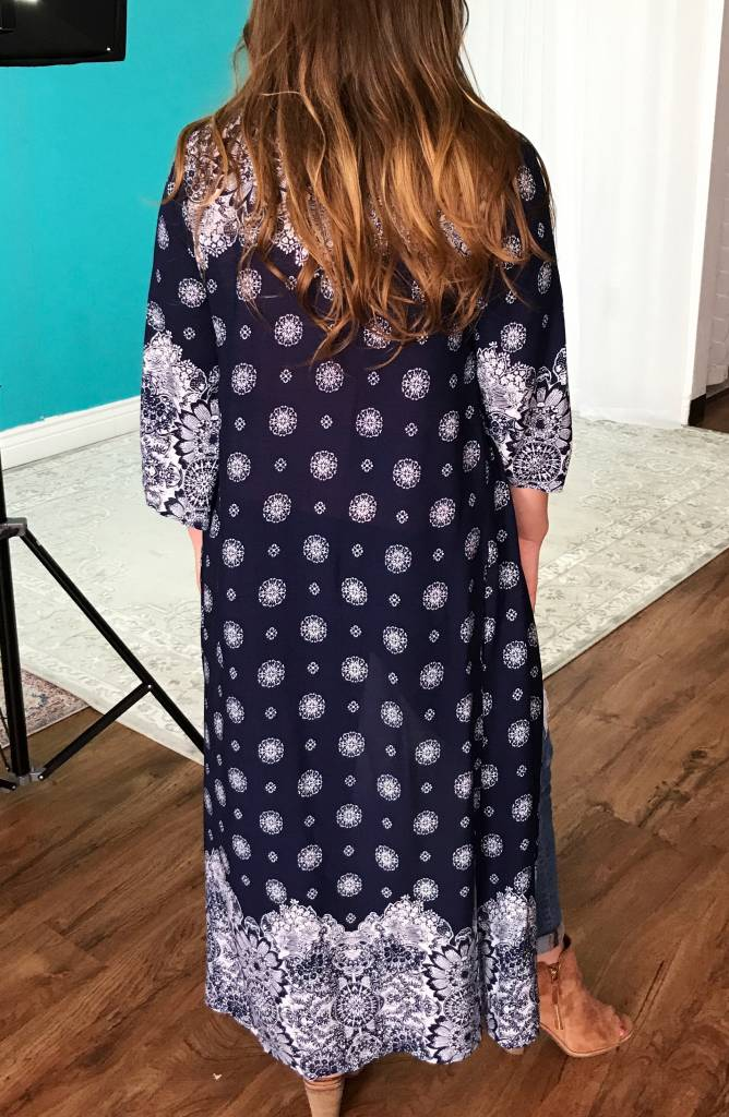 Lillie's Navy Open Front Kimono with White Detailing- SALE ITEM