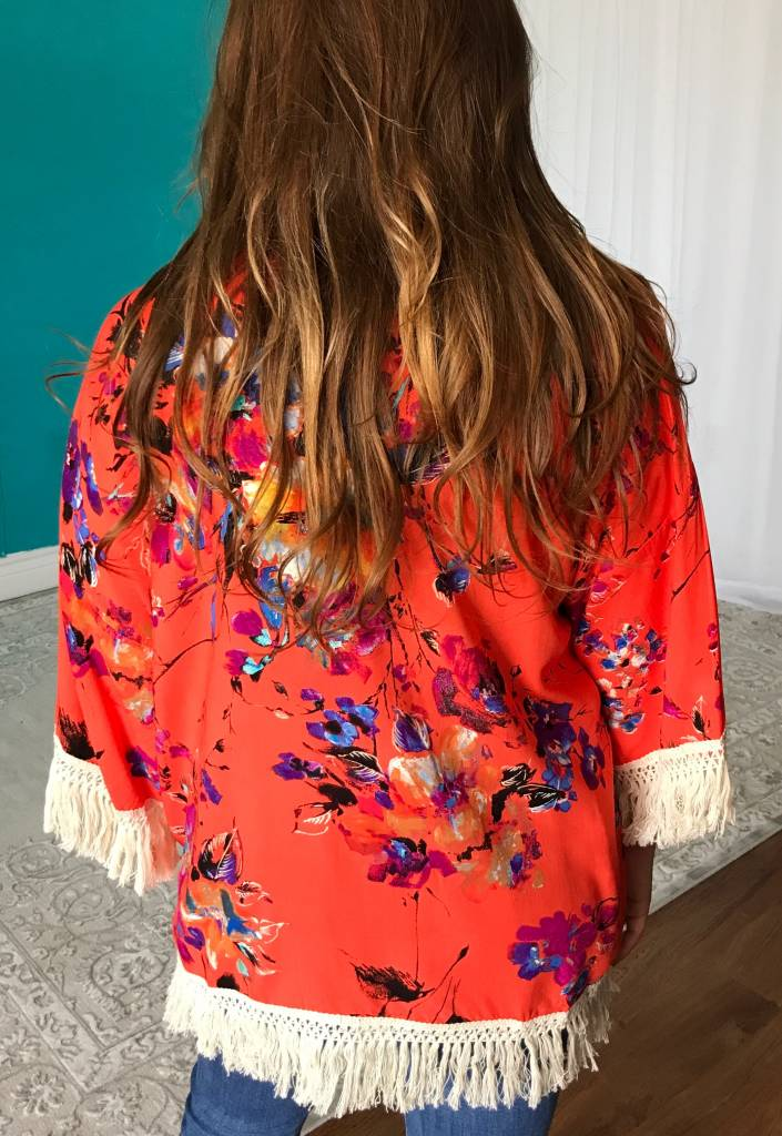 Lillie's Orange Floral Mix Open Front Kimono Tassel Detail